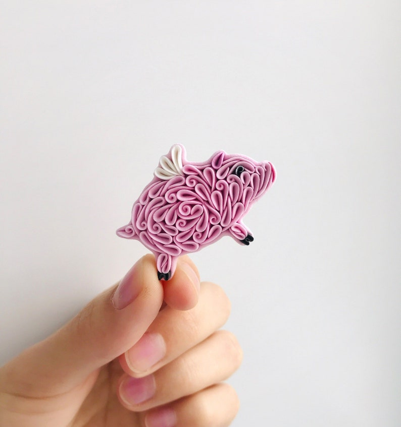 Flying pink pig brooch Polymer clay pig with white wings image 0