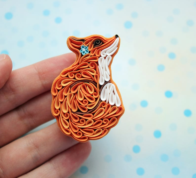 Fox pin brooch Fox jewelry Red fox Polymer clay Cute fox Orange