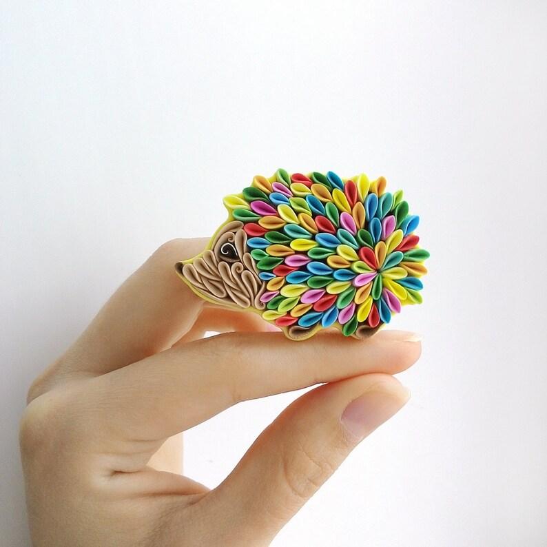 Hedgehog brooch Woodland animals Polymer clay jewelry Rainbow magnet