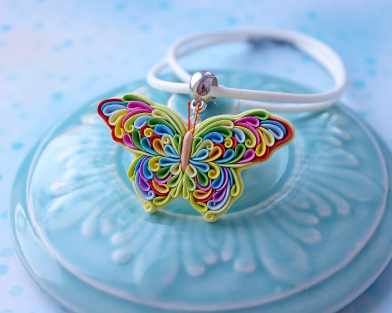 Butterfly necklace Butterfly pin brooch Clay jewelry Dainty Rainbow