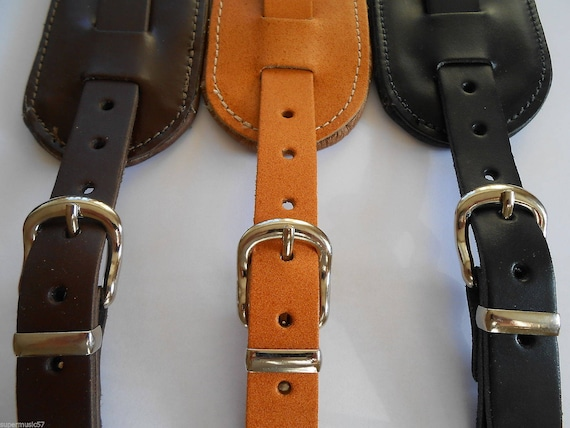 UK MADE BROWN EXTRA LONG BRASS STYLE CONCHE REAL LEATHER ADJUSTABLE GUITAR STRAP