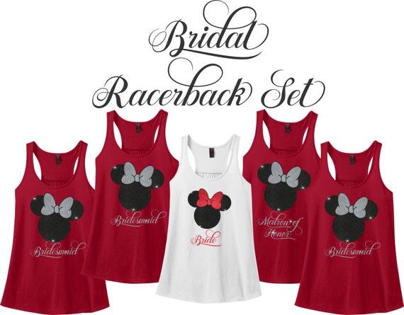 Minnie Mouse Bridal Party Racerback Set Wedding Party Tank   Etsy