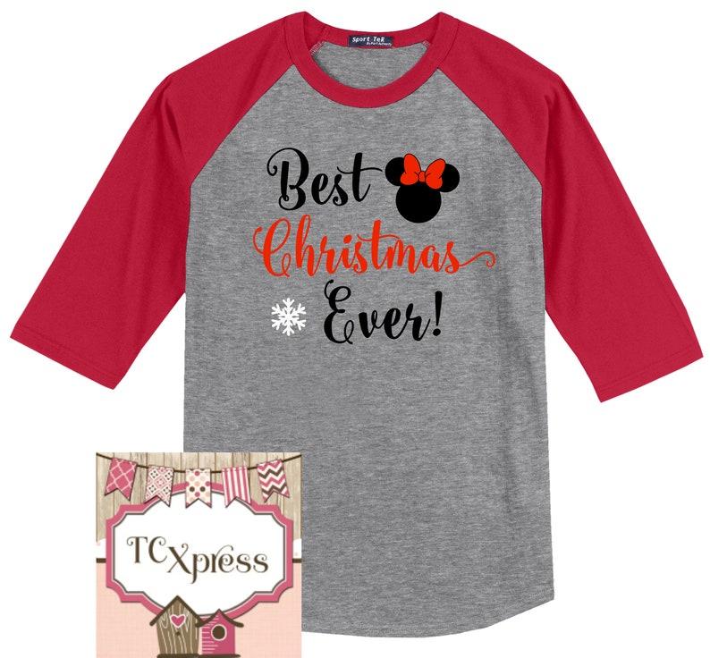 06028885368bb4 Minnie Mouse Disney Christmas 3 4 Sleeve Raglan Disney