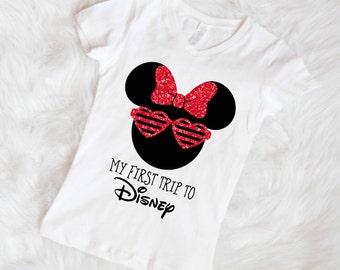 First disney trip shirt Little girls disney shirt minnie mouse first disney trip My first trip to Disney shirt free shipping