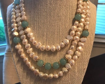 Baroque pearls & aquamarine beads necklace.
