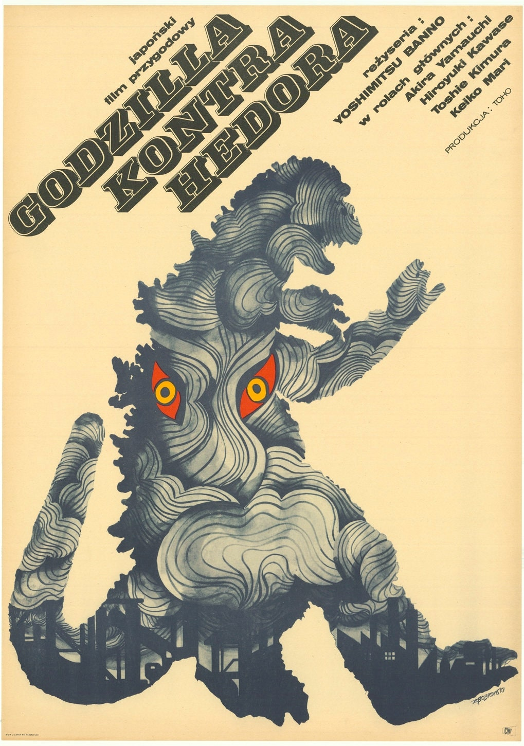 Polish Movie Poster GODZILLA vs. The SMOG MONSTER Polish 23x32