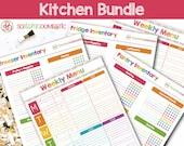 Kitchen Printable Bundle - Food Organizers (Pantry inventory, freezer inventory, fridge inventory) Menu Planners / Meal Schedule