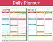 Daily Printable Planner - To do list with menu plan, meal planning, water tracker, exercise log, notes, and more