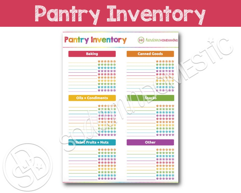 picture about Pantry Inventory Printable named Pantry Meals Stock Printable