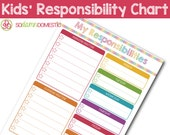 Kids' Responsibilities Chart - Editable / Fillable / Printable Checklist Planner