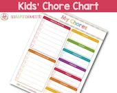 Kids' Chore Chart - Editable / Fillable / Printable Checklist Planner