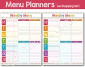 Menu Planner / Meal Planning Printable with Filled Grocery List