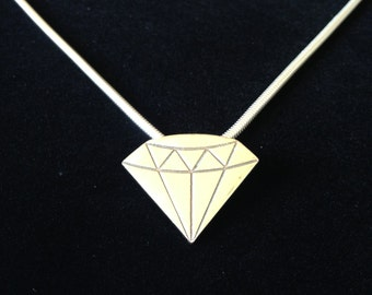 Solid Silver Geometric Diamond Pendant