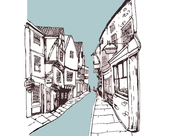 The Shambles, York Illustration Print - A4