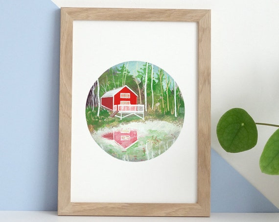 Red Cabin Watercolour Art Print