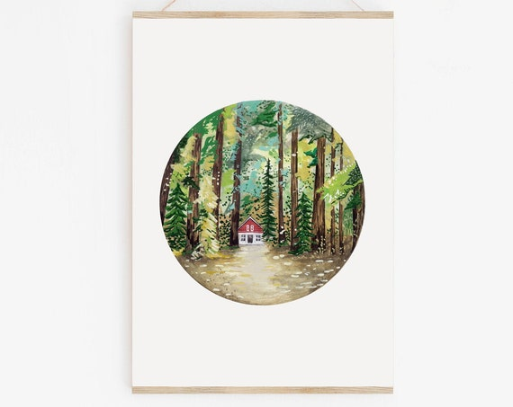 Cabin In The Woods Watercolour Art Print