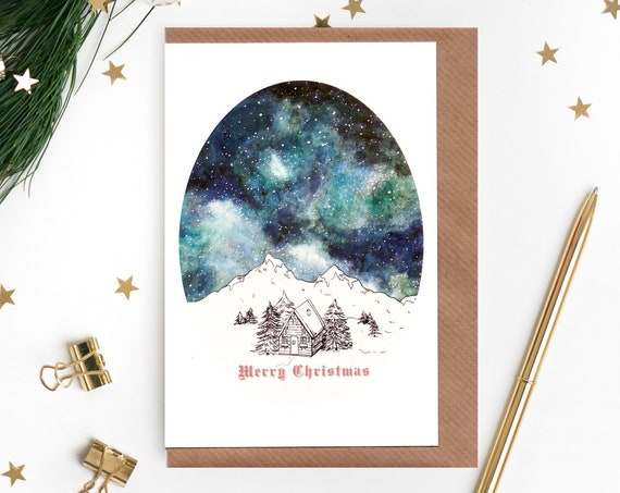 Starry Sky Christmas Card - Single Card