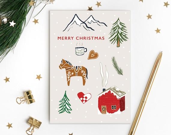 Danish Illustrated Christmas Card - Single