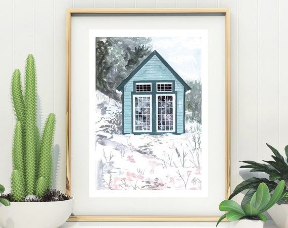 Limited Edition Blue Cabin Giclée Print