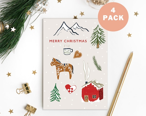 Danish Illustrated Christmas Card Set - Pack of 4 | Christmas Cards Pack
