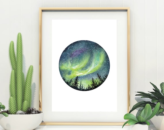 Northern Lights Giclée Watercolour Art Print