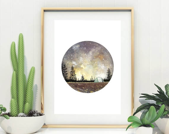 Camping in Autumn Watercolour Art Print