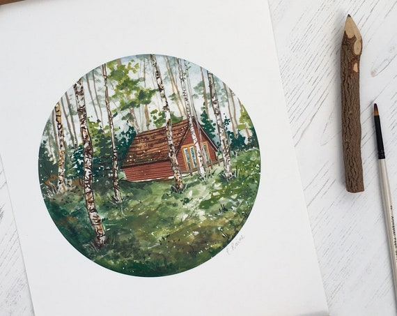 Highlands Cabin Print | Scottish Print | A4 Print