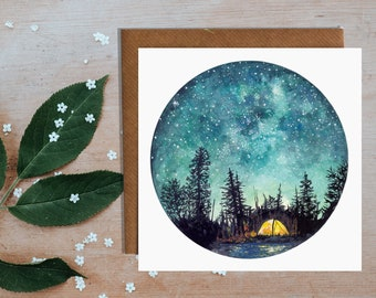 Camping At Night Card