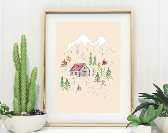 Pastel Cabin Illustration Print