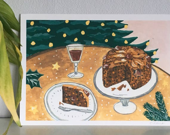 Christmas Cake - Limited Edition Mini Print A5