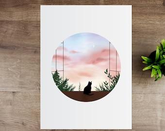 Cat in the Window Print