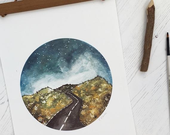 Winding Road A4 Print | Landscape Art Print