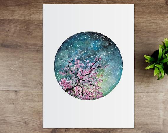 Cherry Blossom Watercolour Art Print