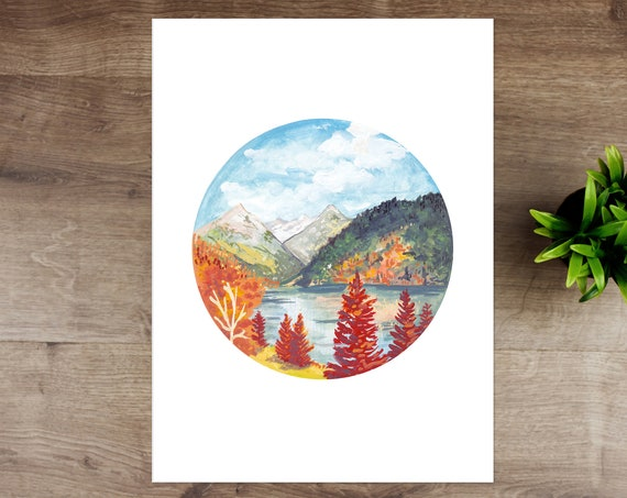Rocky Mountains in Fall Print | Autumn Print A4