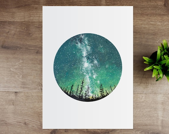 Forest Sky Scandinavian Watercolour Print