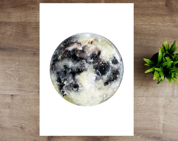 Hand-Finished Moon Print with Silver Leaf