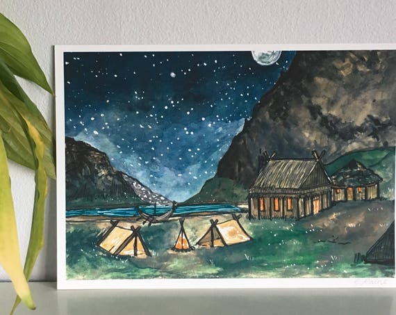 Viking Camp - Limited Edition Mini Print A5