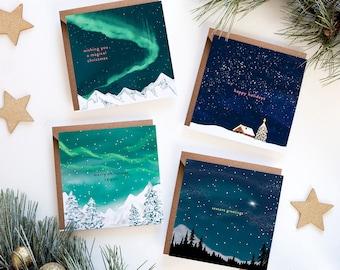 Starry Skies Christmas Card Set   Pack of 4