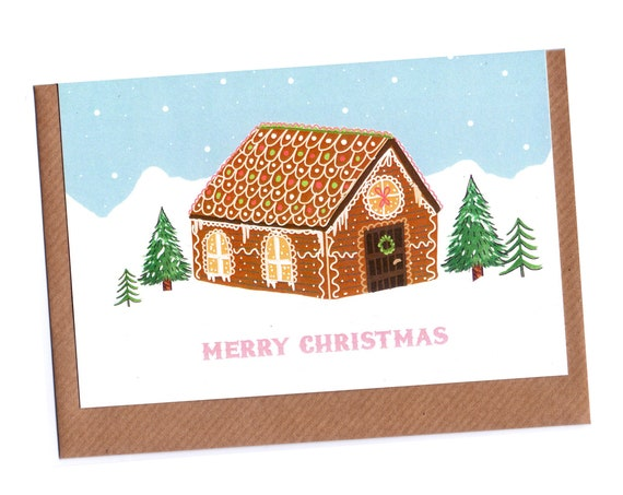 Gingerbread House Christmas Card Set - Pack of 4 | Christmas Cards Pack