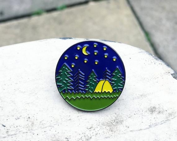 Camping Enamel Pin