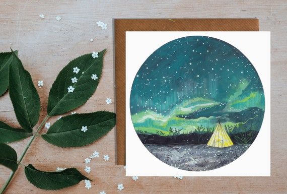 Tipi Under The Northern Lights Greeting Card