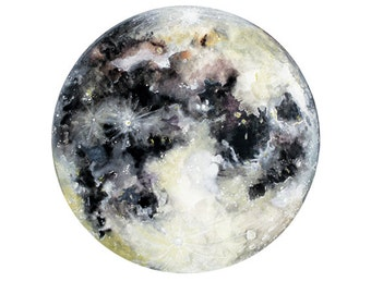 Watercolor Moon Art Print, Hand-Finished with Silver Leaf