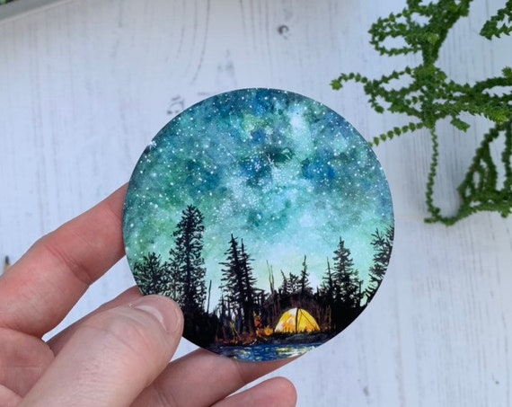 NEW Camping at Night Vinyl Sticker