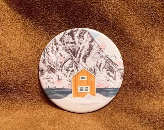 Yellow Cabin Pocket Mirror