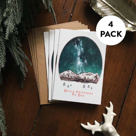 Scandinavian Christmas Cards Pack | Christmas Card Set - Pack of 4