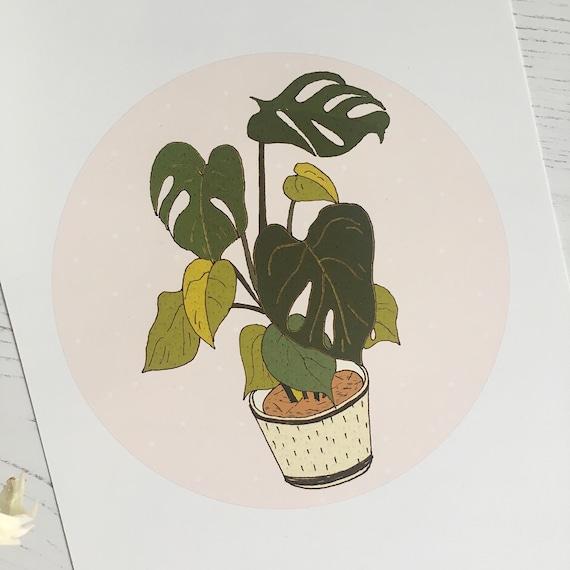 Monstera Illustration Mini Print