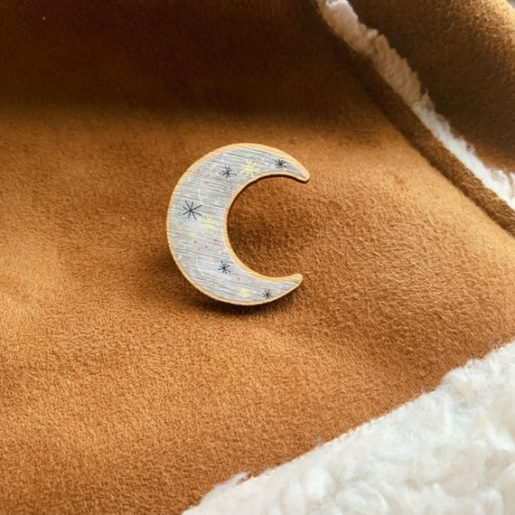 Crescent Moon Wooden Pin Brooch