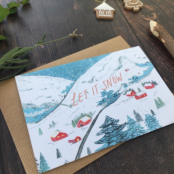 Let It Snow Recycled Christmas Card