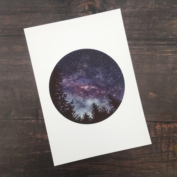 New Zealand Starry Sky Print A4