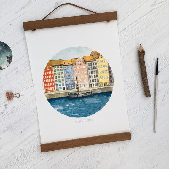 Copenhagen A4 Print   Nyhavn Illustration
